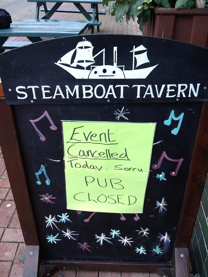 Steamboat Tavern cancellation notice