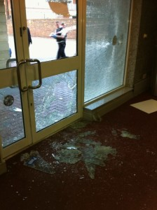 Barking broken window