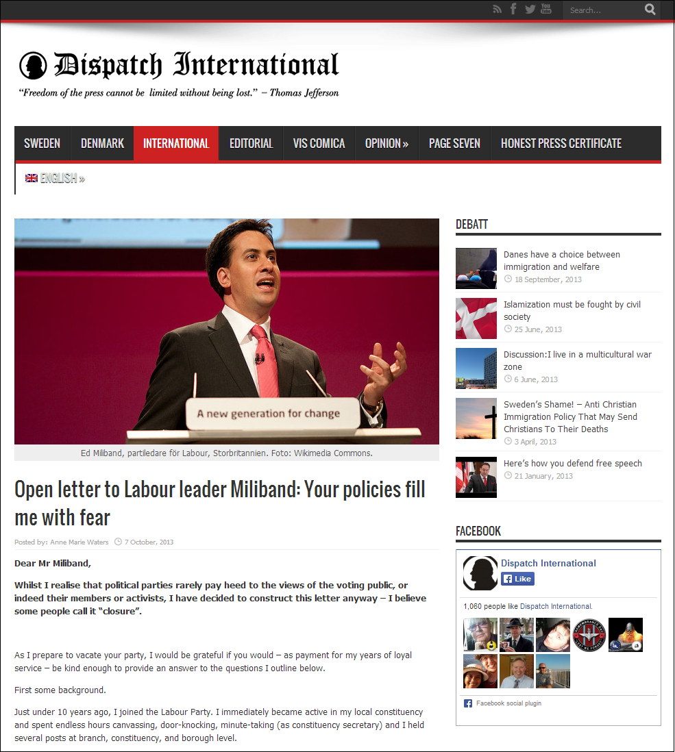 Anne Marie Waters open letter to Miliband