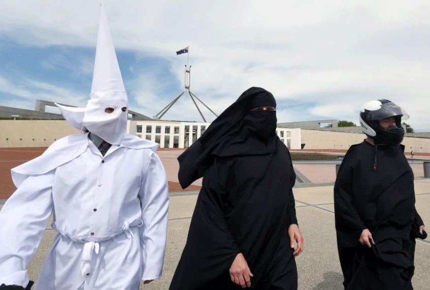 Australian parliament anti-burqa protest