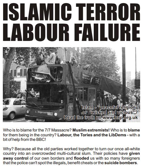BNP Islamic Terror leaflet