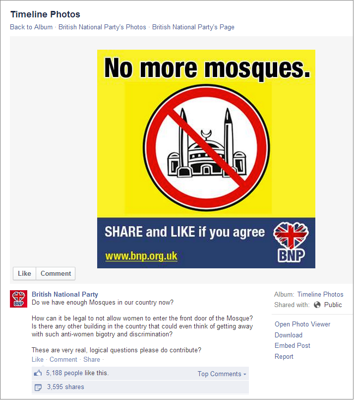 BNP No More Mosques Facebook