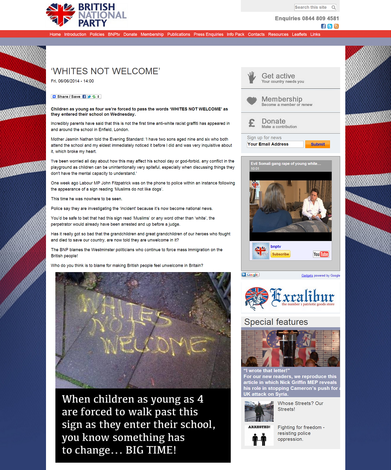 BNP Whites Not Welcome