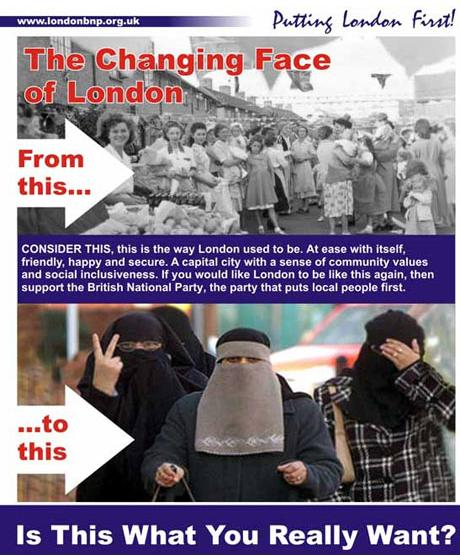 BNP changing face of london leaflet