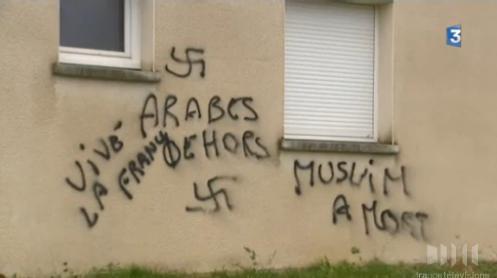 Besançon mosque graffiti November 2013 (2)