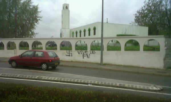 Besançon mosque graffiti November 2013
