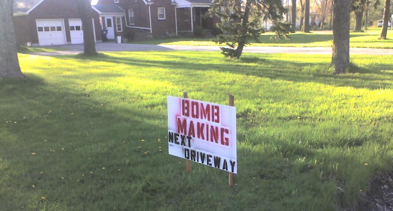 Bomb Making Next Driveway