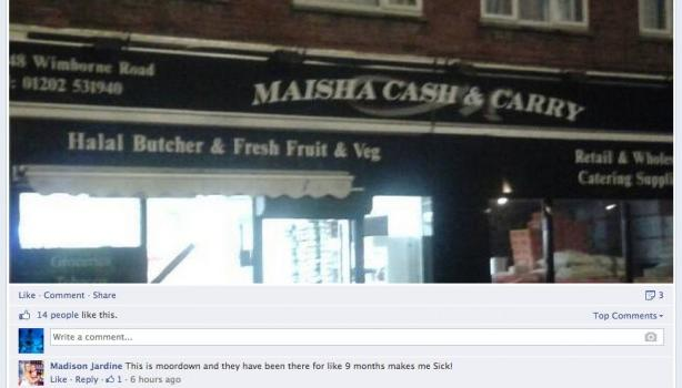 Bournemouth EDL anti-halal Facebook post