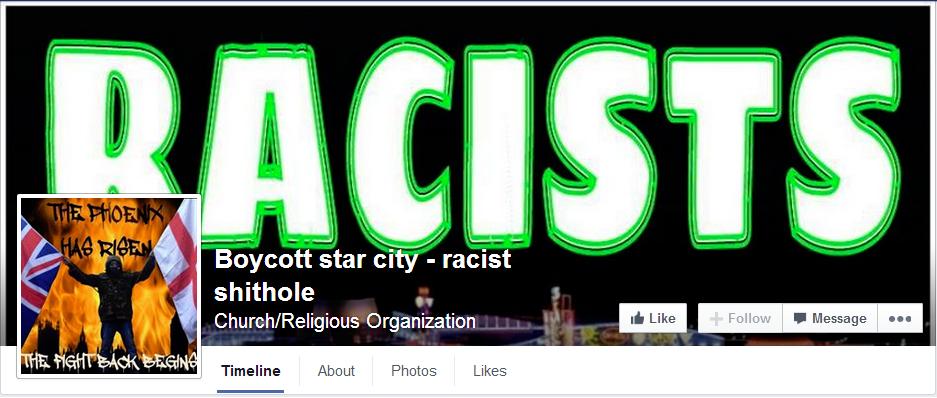 Boycott star city racist shithole Facebook page