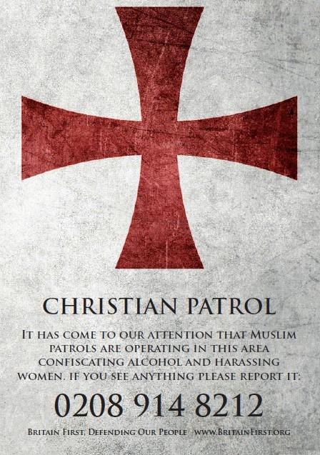 Britain First Christian patrol leaflet