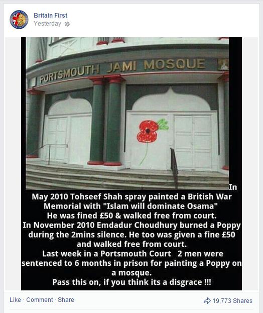 Britain First Facebook lies