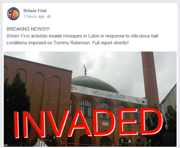 Britain First Luton mosque invaded