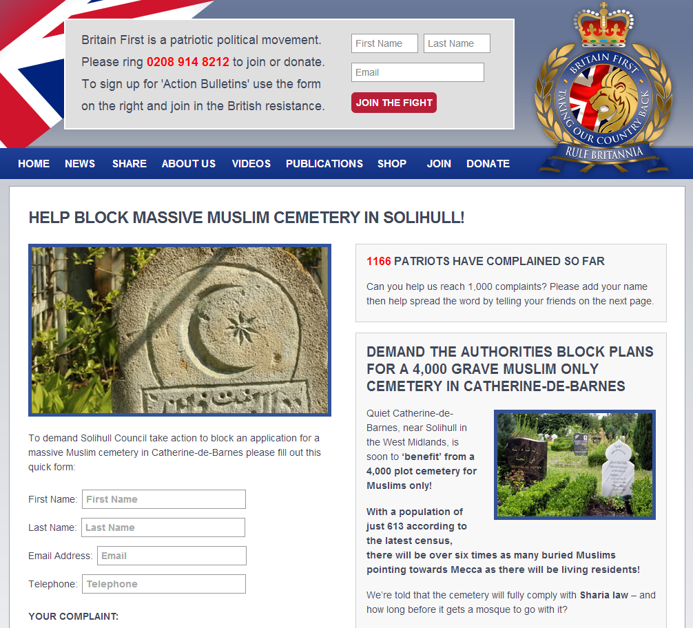 Britain First Solihull cemetery campaign (2)