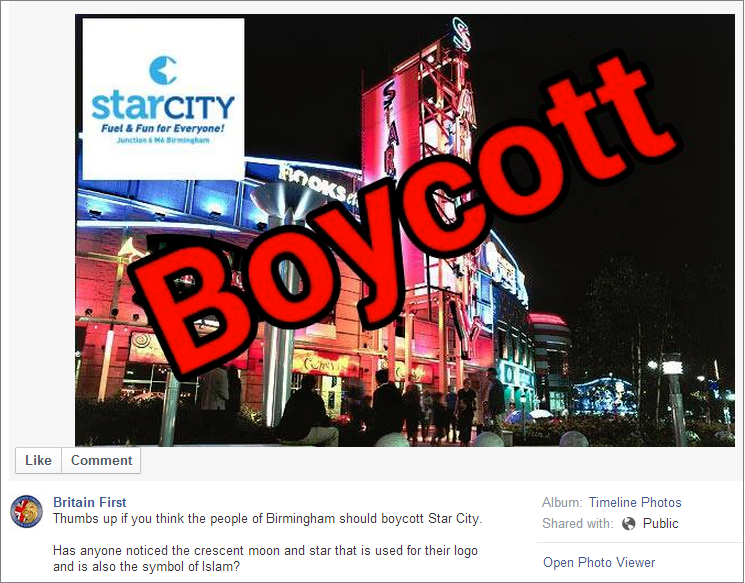 Britain First exposes Star City logo