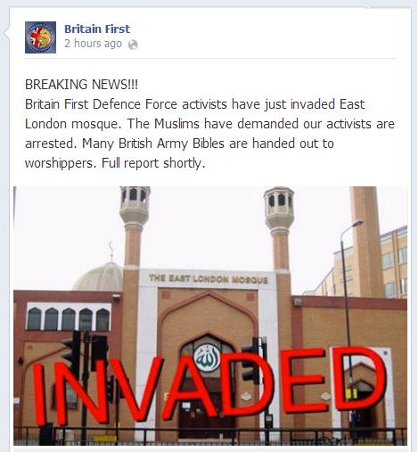 Britain First 'invades' ELM
