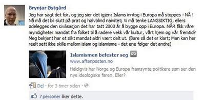 Brynjar Østgård Facebook comment