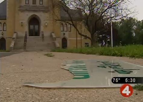 Buffalo mosque sign smashed
