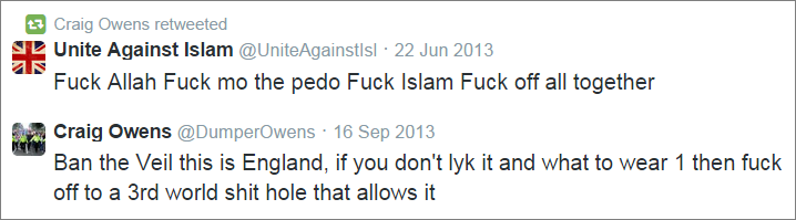 Craig Owens anti-Islam tweets