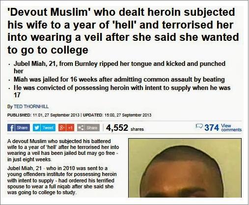 Daily Mail 'devout Muslim' headline