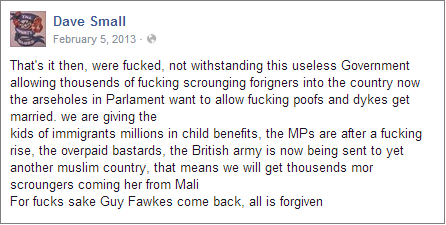 Dave Small expressing disillusionment with parliament