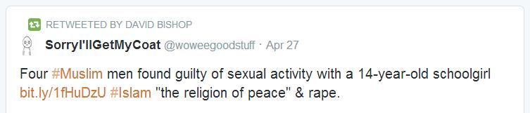 David Bishop anti-Islam tweet