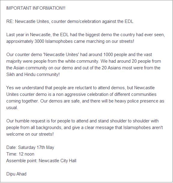 Dipu Ahad info on Newcastle counterprotest