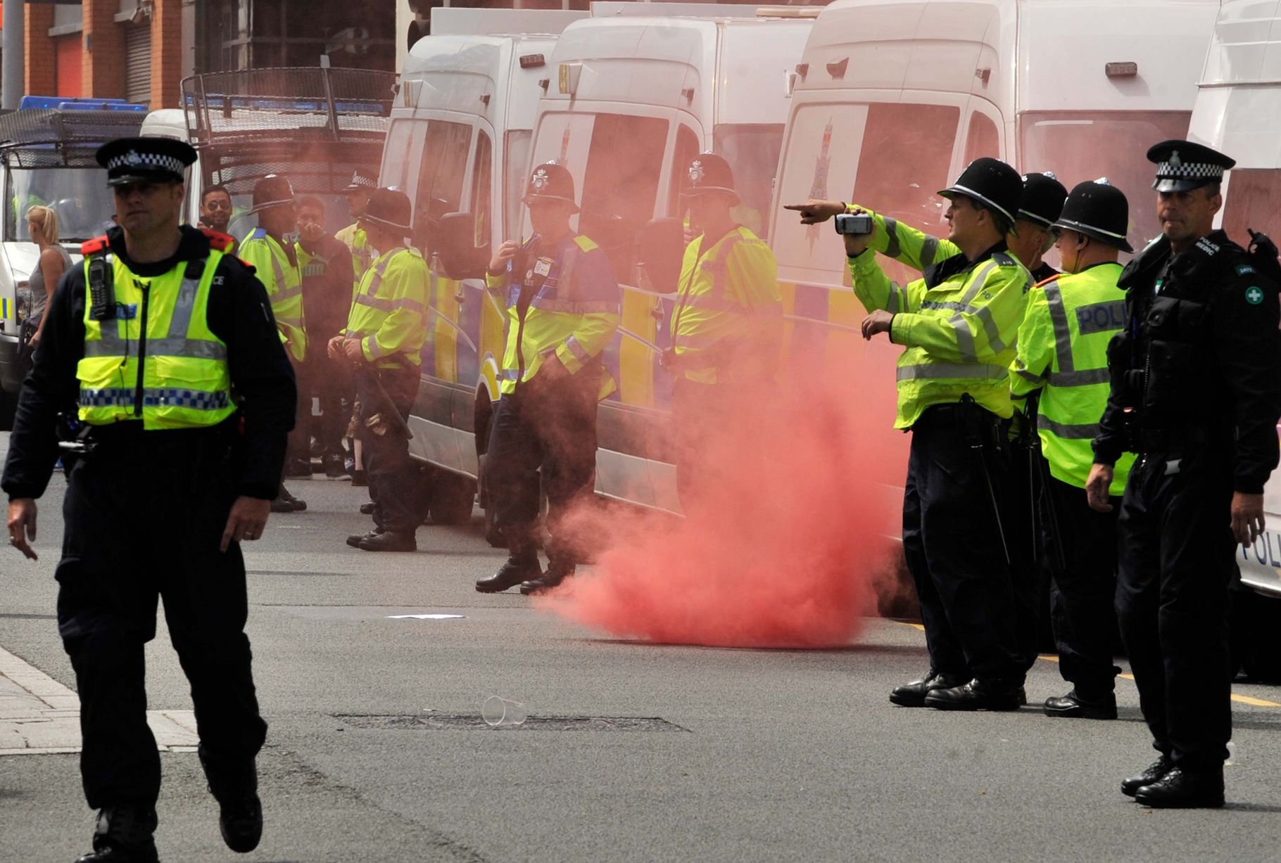 EDL Birmingham smoke bomb