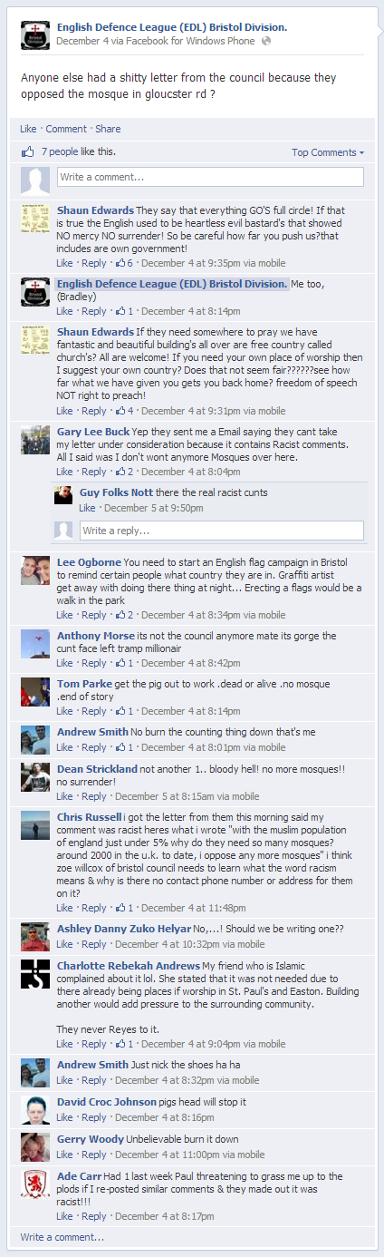 EDL Bristol anti-mosque comments