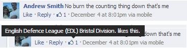 EDL Bristol division endorses mosque arson call