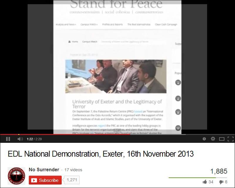EDL Exeter demo video Stand for Peace