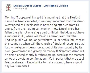 EDL Sleaford demo cancelled