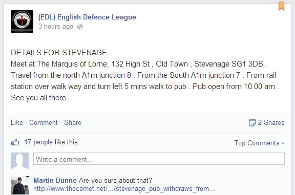 EDL Stevenage ad