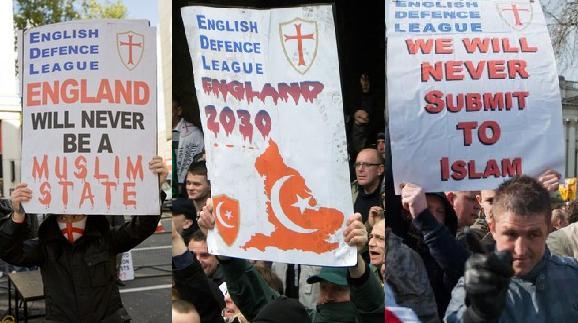 EDL anti-Islam placards