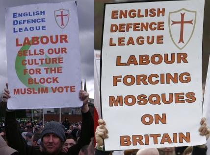 EDL anti-Labour placards