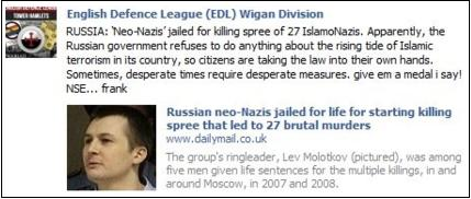 EDL applauds Russian neo-Nazi killers