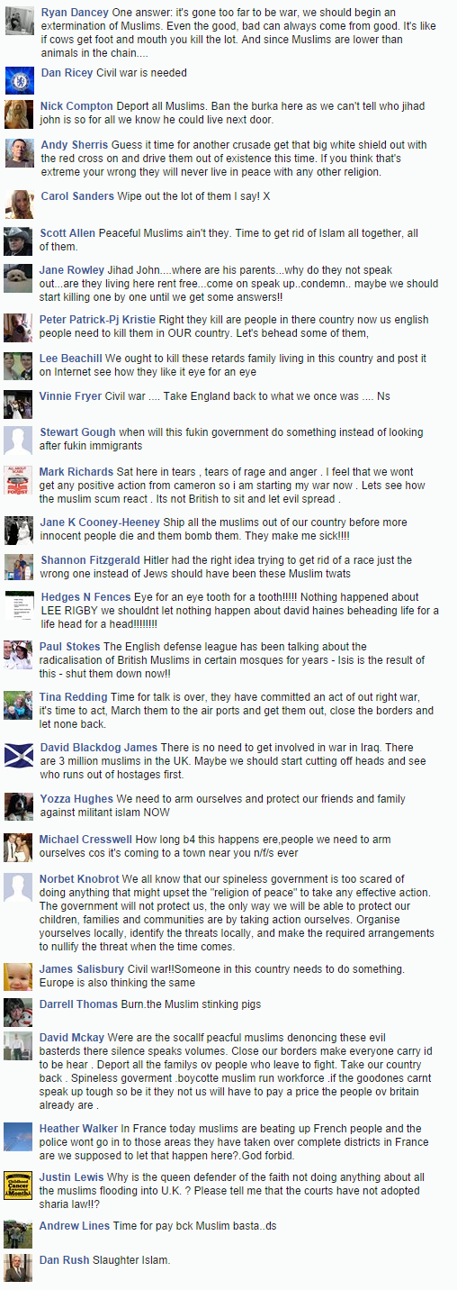 EDL comments on David Haines murder