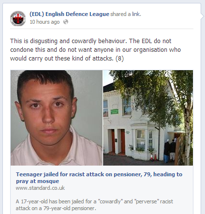 EDL condemns attack on 79-year-old Muslim