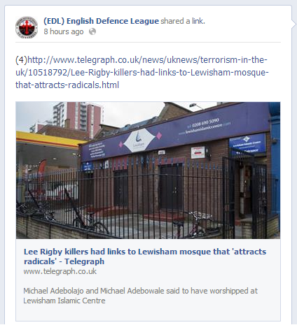 EDL link to Torygraph Lewisham Islamic Centre report