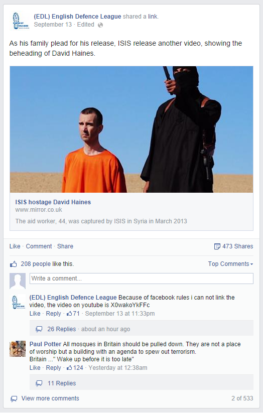 EDL reports murder of David Haines