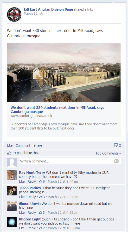 EDL response to Cambridge News report