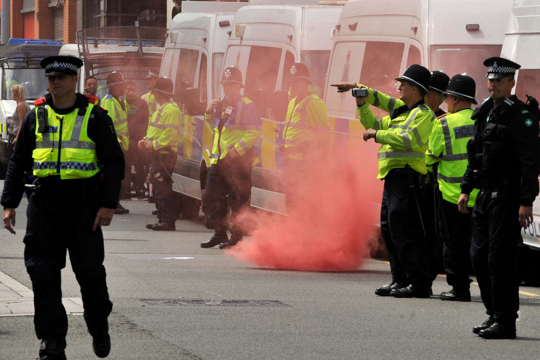 EDL smokebomb Birmingham July 2013