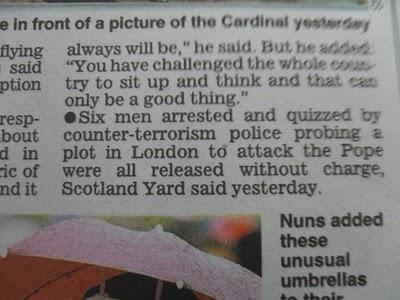 Express 'corrects' Muslim Plot to Kill Pope story