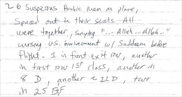 Flying imams passenger's note