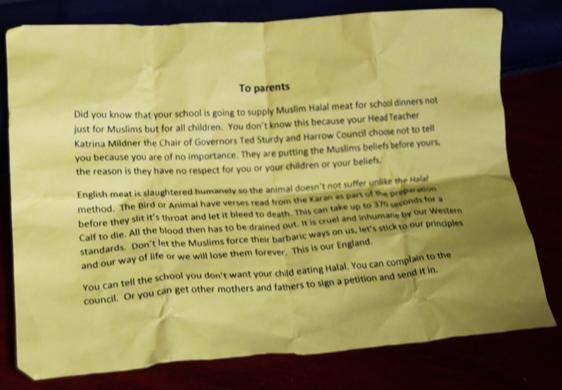 Harrow anti-halal leaflet