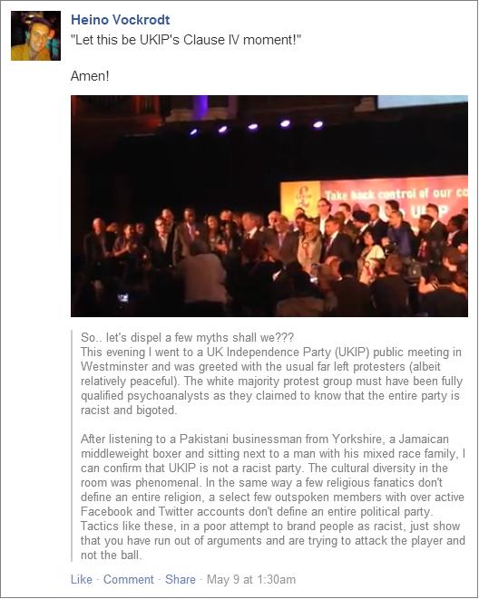 Heino Vockrodt UKIP not a racist party