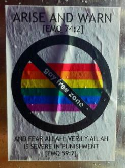 Homophobic sticker Tower Hamlets