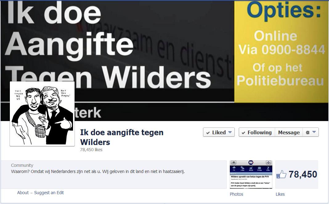 Ik doe aangifte tegen Wilders