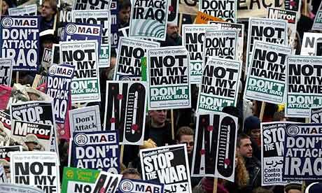 Iraq war protest placards