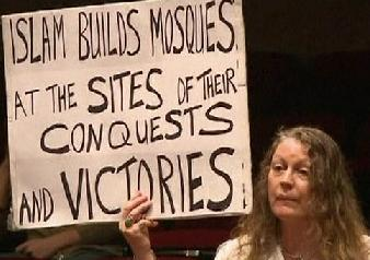 Islam builds mosques placard