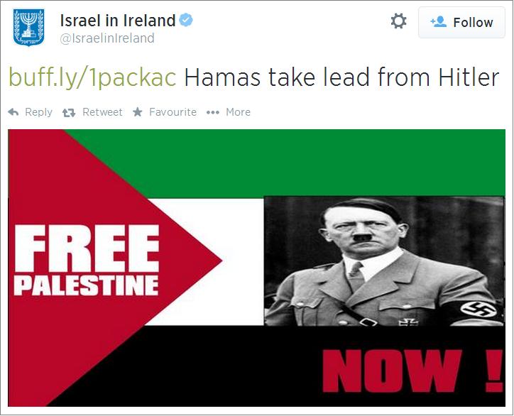 Israel Embassy Dublin Hitler tweet